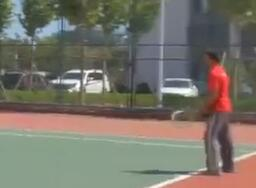 International Students Play Tennis in Campus